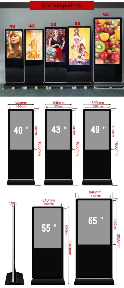 Digital Signage Display Kiosk size