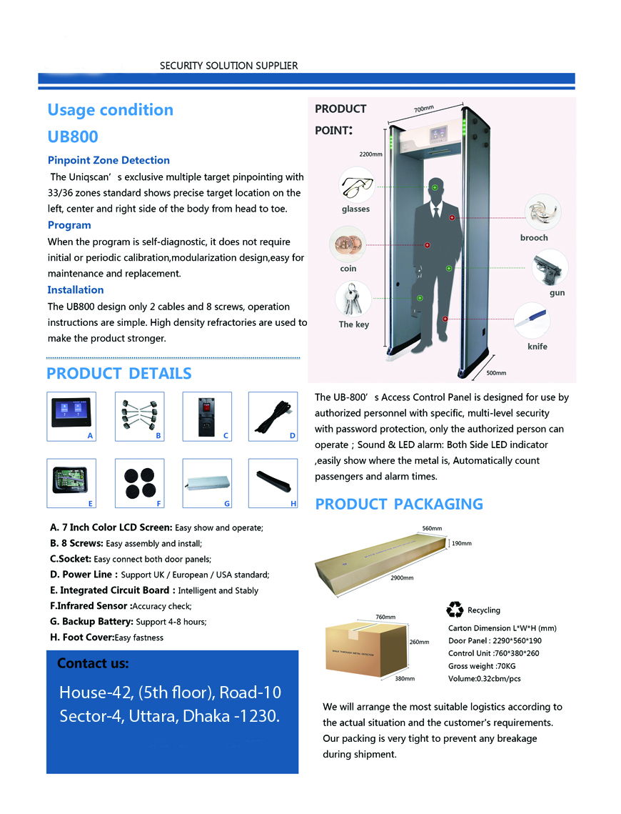 Walk Through Metal Detector Security Gate